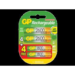 סוללות GP 4+4 2700/800 AAA+AA NiMH